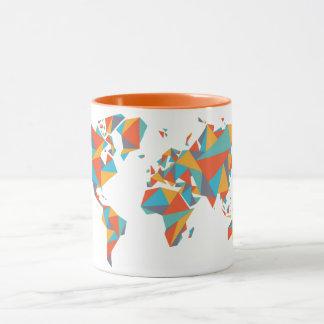 Abstract Geometric World Map Mug