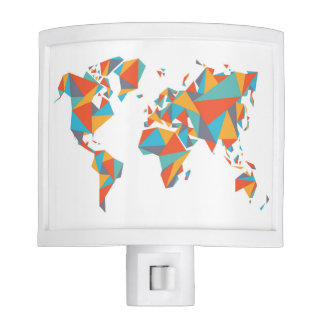 Abstract Geometric World Map Nite Light