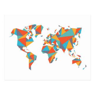 Abstract Geometric World Map Postcard