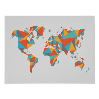 Abstract Geometric World Map Poster