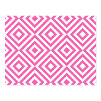 Abstract geometrical squares pattern, pink white postcard