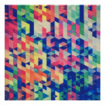 Abstract Geometrical Watercolor Shapes Pattern Print