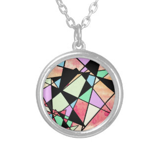ABSTRACT GEOMETRY SILVER PLATED NECKLACE