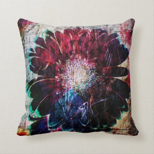 Abstract Gerbera Daisy Throw Pillow