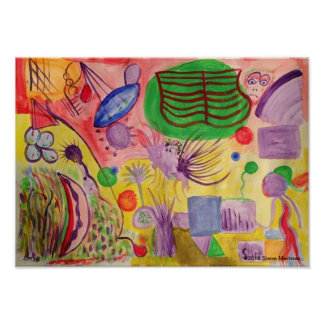 Abstract Gibberish colorful mental fun childlike Poster