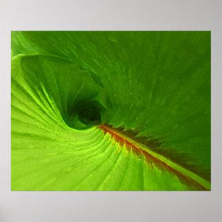 Abstract Ginger Leaf Spiral Poster