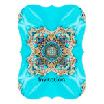 "abstract girly Ethnic pattern turquoise bohemian 5"" X 7"" Invitation Card"