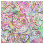 Abstract Girly Neon Rainbow Paisley Sketch Pattern Fabric