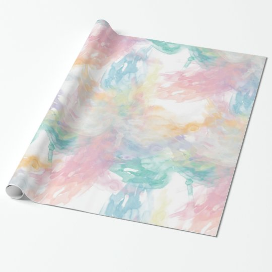 Abstract Girly Pastel Watercolor Splatters Pattern Wrapping Paper