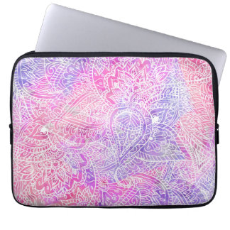 Abstract Girly Purple Pink Paisley Sketch Pattern Laptop Sleeve