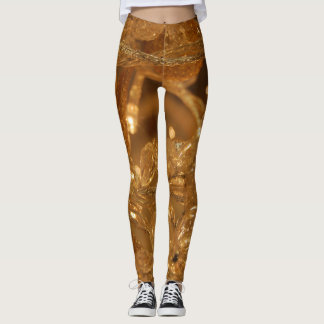 Abstract glass and metal wire pattern leggings