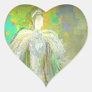 Abstract Glitter Angel Heart Sticker