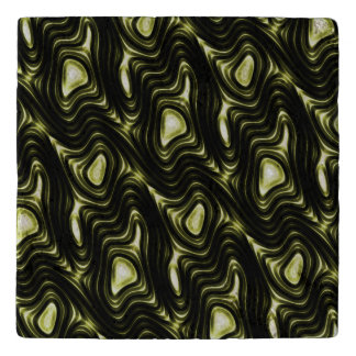 Abstract Glowing Dark Green Alien Pattern Trivet