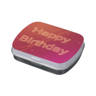 Abstract Glowing Happy Birthday - Candy Tin