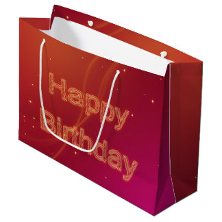 Abstract Glowing Happy Birthday - Large Gift Bag