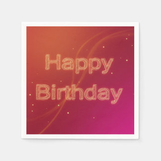 Abstract Glowing Happy Birthday - Paper Napkin