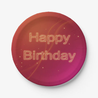 Abstract Glowing Happy Birthday - Paper Plate 7 Inch Paper Plate