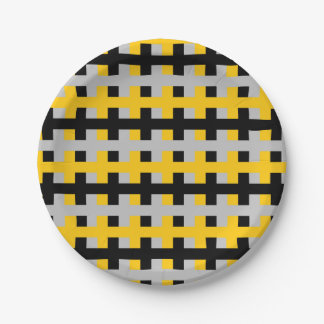 Abstract Gold, Black and Silver Paper Plate