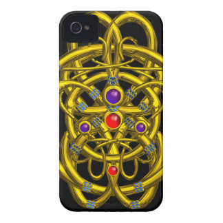 ABSTRACT GOLD CELTIC KNOTS WITH GEMSTONES iPhone 4 Case-Mate CASE