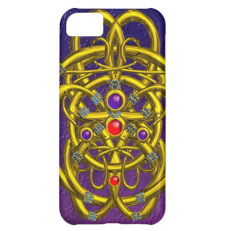 ABSTRACT GOLD CELTIC KNOTS WITH GEMSTONES iPhone 5C CASES