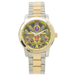 ABSTRACT GOLD CELTIC KNOTS WITH GEMSTONES WRIST WATCHES