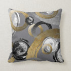 Abstract Gold Colour Ring Black White Swirl Throw Pillow