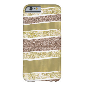 Abstract Gold Faux Glitter Stripes Barely There iPhone 6 Case