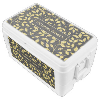 Abstract Gold Leafs Seamless Pattern Chest Cooler