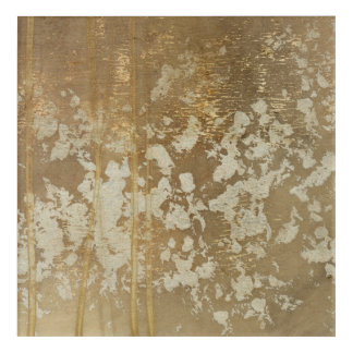 Abstract Gold Painting with Silver Speckles Acrylic Wall Art