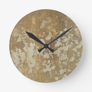 Abstract Gold Painting with Silver Speckles Round Clock