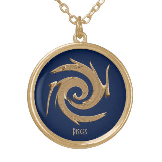 Abstract Gold Pisces Zodiac Locket