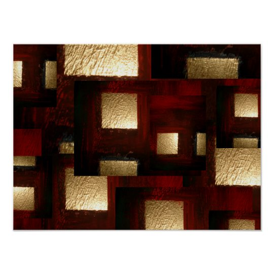 Abstract Gold Squares Poster