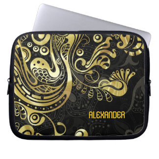 Abstract Gold Swirls -Custom Monogram Laptop Sleeves