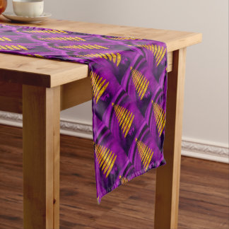 Abstract Golden Christmas Tree On Purple Short Table Runner