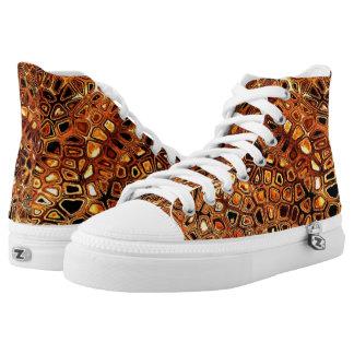 Abstract Golden Glow Zipz High Top Shoes