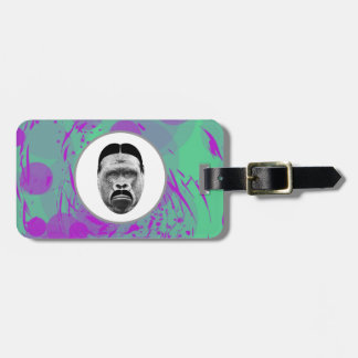 Abstract Gorilla Luggage Tag w/ leather strap
