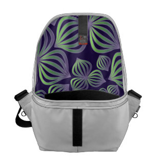 Abstract gradient purple green floral pattern. messenger bags