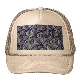Abstract gradient purple green floral pattern. trucker hat