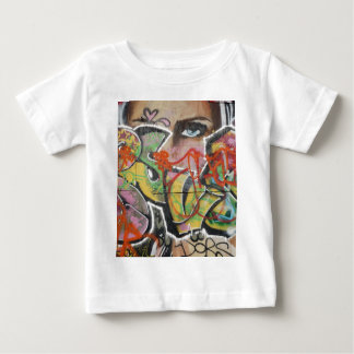 abstract graffiti art mural text type womans face baby T-Shirt