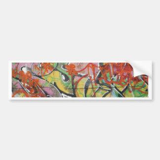abstract graffiti art mural text type womans face bumper sticker