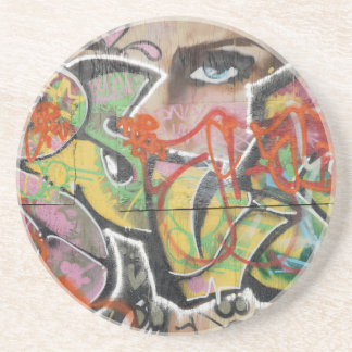 abstract graffiti art mural text type womans face coaster
