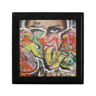 abstract graffiti art mural text type womans face gift boxes