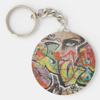 abstract graffiti art mural text type womans face keychain