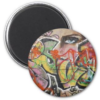 abstract graffiti art mural text type womans face magnet