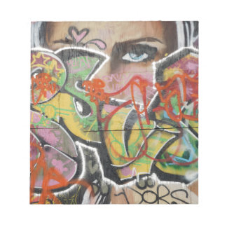 abstract graffiti art mural text type womans face notepad