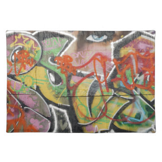abstract graffiti art mural text type womans face placemat