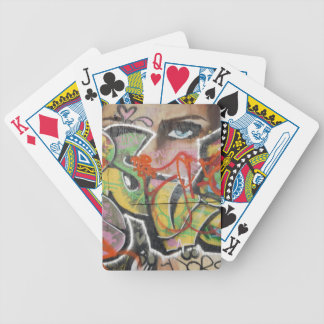 abstract graffiti art mural text type womans face poker deck