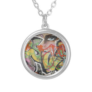 abstract graffiti art mural text type womans face silver plated necklace