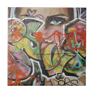 abstract graffiti art mural text type womans face tile
