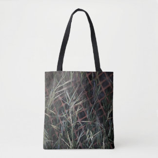 Abstract Grass on Construction Fence Tote Bag